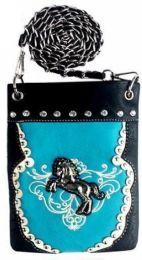 6 Units of Western Style Rhinestone Horse Studded Sling Bag Turquoise - Shoulder Bags & Messenger Bags