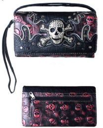 5 Units of Rhinestone Skull And Bones Wallet Purse Hot Pink - Shoulder Bags & Messenger Bags