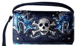 5 Units of Rhinestone Skull & Bones Wallet Purse Blue - Shoulder Bags & Messenger Bags