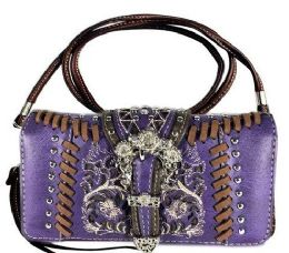 5 Wholesale Rhinestone Studded Buckle with Embroidery Wallet Purse