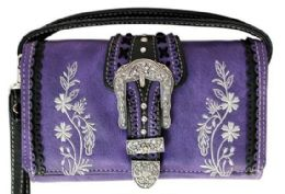 5 Wholesale Buckle Wallet Purse With Embroideries Purple