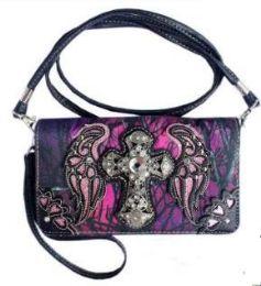 5 Wholesale Purple Camo Cross with Wing Wallet Purse