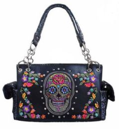 3 Units of Sugar Skull with Flowers Purse Black - Shoulder Bags & Messenger Bags