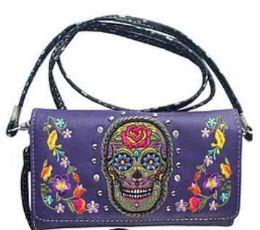 5 Wholesale Sugar Skull Wallet Purse Purple