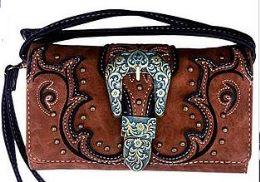 5 Wholesale Western Buckle Brown Wallet Purse