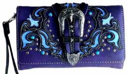 5 Wholesale Buckle With Laser Cutout Pattern Wallet Purse Purple