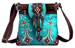 5 Units of Western Sling Purse with Buckle Turquoise - Shoulder Bags & Messenger Bags