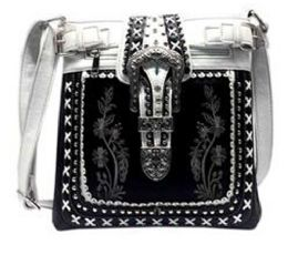 5 Units of Western Sling Purse Embroidery With Buckle Black - Shoulder Bags & Messenger Bags
