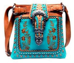 5 Units of Western Sling Purse Embroidery with Buckle Turquoise - Shoulder Bags & Messenger Bags