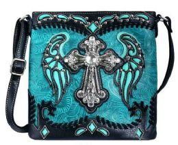 5 Units of Rhinestone Sling Purse Cross Angel Wings Turquoise - Shoulder Bags & Messenger Bags