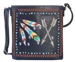 5 Units of Rhinestone Sling Purse With Feather And Arrows Black - Shoulder Bags & Messenger Bags