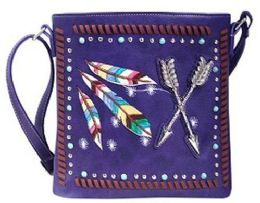 5 Units of Rhinestone Sling Purse With Feather And Arrows Purple - Shoulder Bags & Messenger Bags