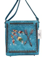 5 Units of Rhinestone Sling Purse With Feather And Arrows Torquoise - Shoulder Bags & Messenger Bags