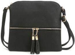 5 Units of Fashion Purse With Tassel And Adjustable Long Strap In Black - Shoulder Bags & Messenger Bags