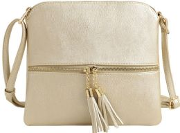 5 Units of Fashion Purse With Tassel And Adjustable Long Strap In Gold - Shoulder Bags & Messenger Bags