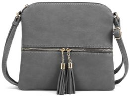 5 Units of Fashion Purse With Tassel And Adjustable Long Strap In Grey - Shoulder Bags & Messenger Bags