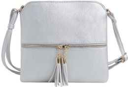 5 Units of Fashion Purse With Tassel And Adjustable Long Strap In Silver - Shoulder Bags & Messenger Bags