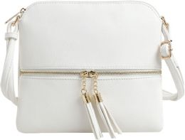 5 Units of Fashion Purse With Tassel And Adjustable Long Strap In White - Shoulder Bags & Messenger Bags