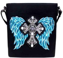 4 Units of Rhinestone Sling Purse Cross Angel Wings Black Turquoise - Shoulder Bags & Messenger Bags