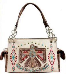 3 Units of Embroidery Aztec Eagle Design Purse Beige - Shoulder Bags & Messenger Bags