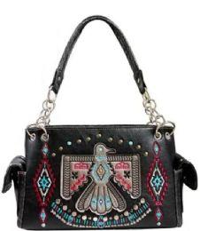 3 Units of Embroidery Aztec Eagle Design Purse Black - Shoulder Bags & Messenger Bags