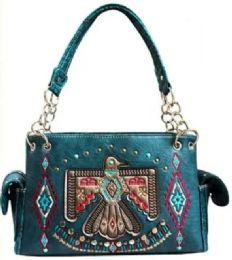 3 Units of Embroidery Aztec Eagle Design Purse Teal - Shoulder Bags & Messenger Bags