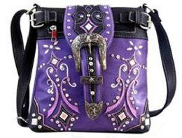 5 Units of Western Sling Purse with Buckle Purple - Shoulder Bags & Messenger Bags