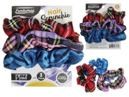 288 Units of Cloth Hair Ties 3pc Scrunchie - PonyTail Holders