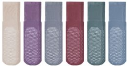 6 Wholesale Yacht & Smith Multi Purpose Diabetic Assorted Colors Rubber Silicone Gripper Bottom Slipper Sock Size 9-11