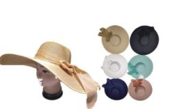 72 Units of Women Summer Straw Hat With Bow - Sun Hats