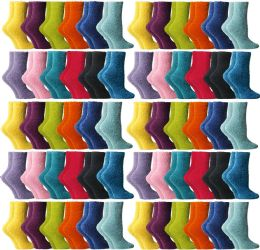 60 of Yacht & Smith Women's Assorted Bright Solid Color Gripper Fuzzy Socks, Size 9-11