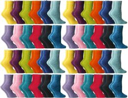 48 of Yacht & Smith Women's Assorted Bright Solid Color Gripper Fuzzy Socks, Size 9-11