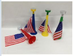 150 Units of AIR HORN With AMERICAN FLAG - Novelty Toys