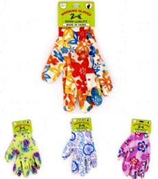 144 Units of GARDEN FLOWER GLOVES - Gardening Gloves