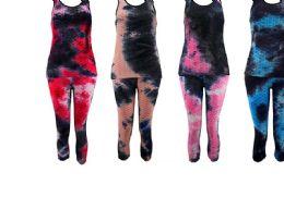 36 Units of Tie Dye Color Bubble Capri Set - Womens Capri Pants
