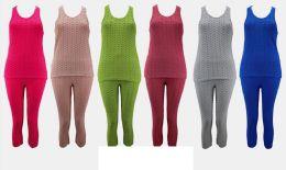 36 Units of Solid Color Bubble Capri Set - Womens Capri Pants
