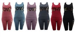 36 Units of Womens Gym Set With Camo Love Print - Womens Active Wear