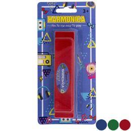 36 Bulk Harmonica Plastic Toy 5in L 3asst Colors Blc
