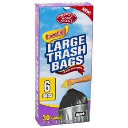 24 Units of Trash Bags 6ct - 30 Gallon Large - Garbage & Storage Bags