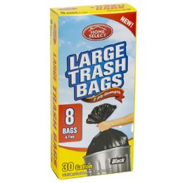24 Units of Trash Bags 8ct - 30 Gallon Large - Garbage & Storage Bags