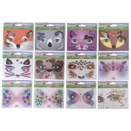 48 Wholesale Face Art Everyday 12ast Styles Sequin Decor On 12pc Mdsgstrip