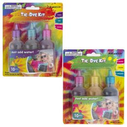 24 Wholesale TiE-Dye Kit 10pc Set Includes 3-Dyes/5-Rubberbands/2-Gloves
