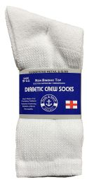 24 Units of Yacht & Smith Women's Cotton Diabetic NoN-Binding Crew Socks - Size 9-11 White - Women's Diabetic Socks