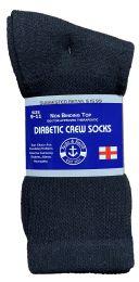 36 Units of Yacht & Smith Women's Cotton Diabetic NoN-Binding Crew Socks Size 9-11 Black - Women's Diabetic Socks