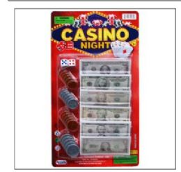 72 of 24 ASST BILLS & COINS CASINO NIGHT MONEY SET ON CARD