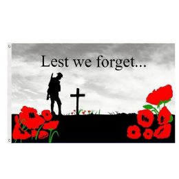 24 of LEST WE FORGET Poppy Remembrance Flag