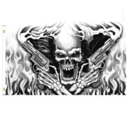 24 of Skull with Smoking Guns Flag