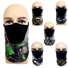 24 Units of Half Face Mask Gaiter/Buff Camo Assortment with Mesh - Face Mask