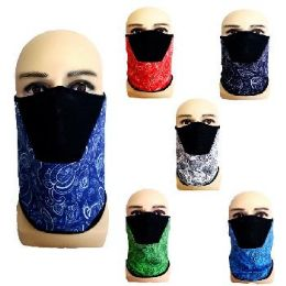 24 Units of Half Face Mask Gaiter Buff Paisley with Mesh - Face Mask