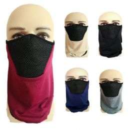 24 Units of Half Face Mask Gaiter Buff Solid Color with Mesh - Face Mask